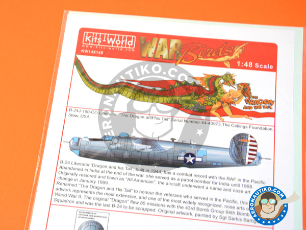 Image 1: Consolidated B-24 Liberator J | Marking / livery in 1/48 scale manufactured by Kits World (ref. KW148149)