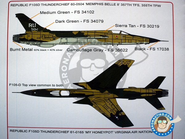 Image 5: Republic F105D Thunderchief | Marking / livery in 1/48 scale manufactured by Kits World (ref. KW148162)