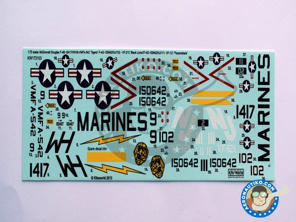 "Image 1: Decals for McDonnell Douglas F-4B ""Phantom"" 