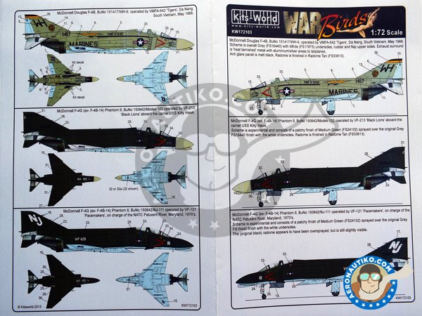 "Image 2: Decals for McDonnell Douglas F-4B ""Phantom"" 