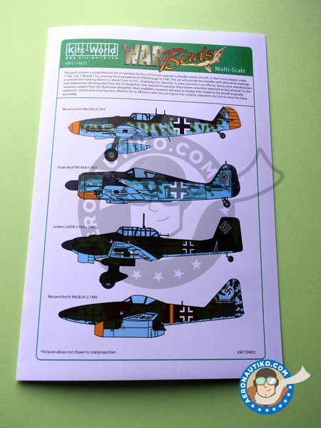 Set of swastikas for four most popular Luftwaffe combat aircraft, in the four popular scales. | Marking / livery manufactured by Kits World (ref. KW1724832) image