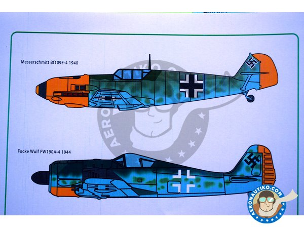 Image 5: Set of swastikas for four most popular Luftwaffe combat aircraft, in the four popular scales. | Marking / livery manufactured by Kits World (ref. KW1724832)