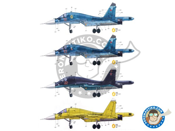 """Image 10: Su-34 """"Fullback""""   Model kit in 1/48 scale manufactured by Kitty Hawk (ref.KH80141)"""
