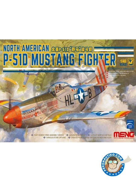North American P-51D Mustang Fighter | Airplane kit in 1/48 scale manufactured by Meng Model (ref.LS-006) image