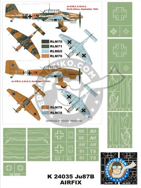 Ju-87B-2 (Snake) | Masks in 1/24 scale manufactured by Montex Mask (ref. K24035) image