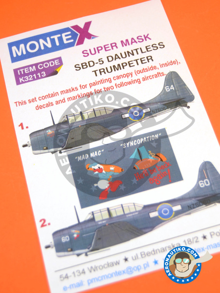 Douglas SBD Dauntless 5 | Masks in 1/32 scale manufactured by Montex Mask (ref. K32113) image