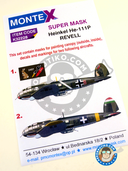 Heinkel He 111 P-1   Masks in 1/32 scale manufactured by Montex Mask (ref.K32228) image