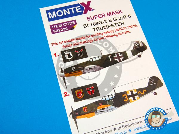 Image 1: Messerschmitt Bf 109 G-2 | Masks in 1/32 scale manufactured by Montex Mask (ref.K32232)