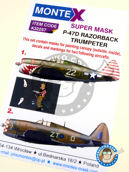 Republic P-47 Thunderbolt D Razorback | Masks in 1/32 scale manufactured by Montex Mask (ref. K32257) image