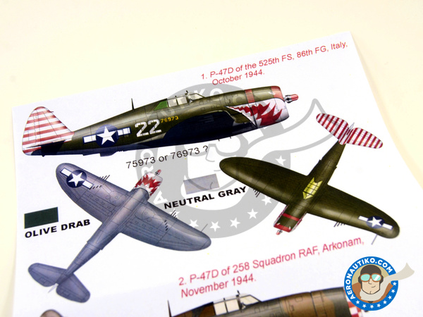 Image 5: Republic P-47 Thunderbolt D Razorback | Masks in 1/32 scale manufactured by Montex Mask (ref. K32257)