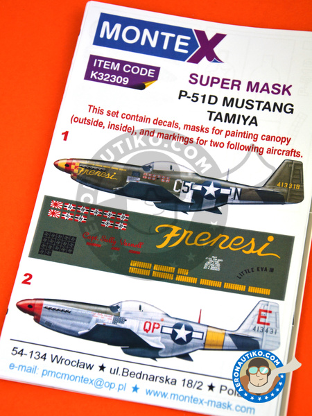 North American P-51 Mustang D | Masks in 1/32 scale manufactured by Montex Mask (ref. K32309) image