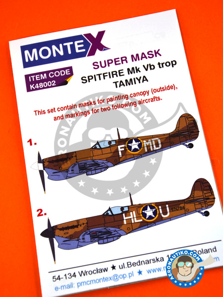 Supermarine Spitfire Mk. Vb Trop | Masks in 1/48 scale manufactured by Montex Mask (ref. K48002) image