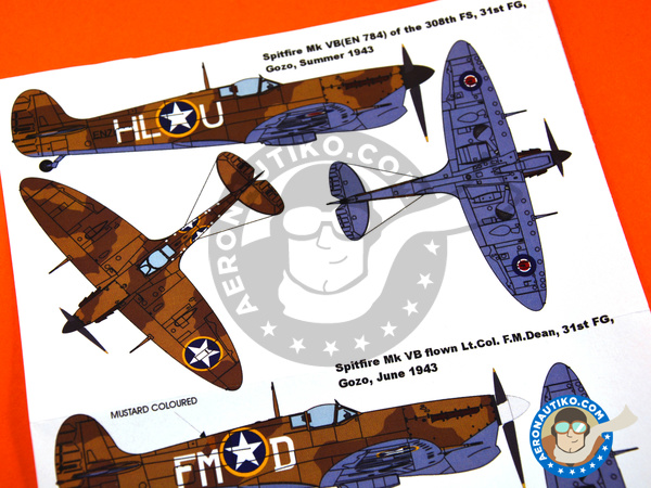 Image 3: Supermarine Spitfire Mk. Vb Trop | Masks in 1/48 scale manufactured by Montex Mask (ref. K48002)