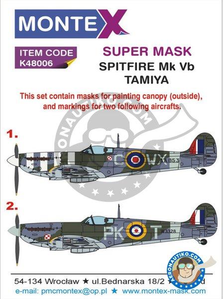 Spitfire MkVB (Polish Spitfire) | Masks in 1/48 scale manufactured by Montex Mask (ref.K48006) image