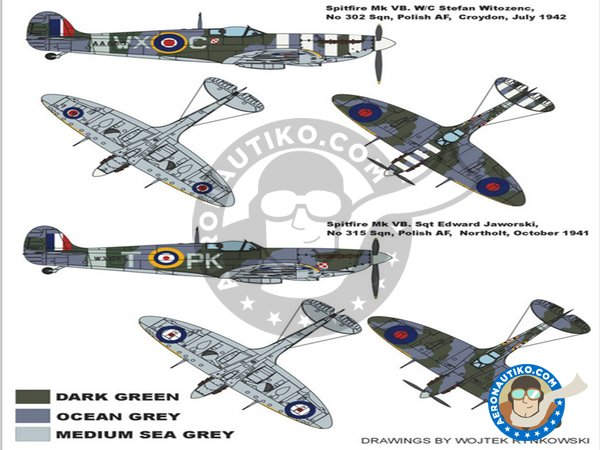 Image 1: Spitfire MkVB (Polish Spitfire) | Masks in 1/48 scale manufactured by Montex Mask (ref. K48006)