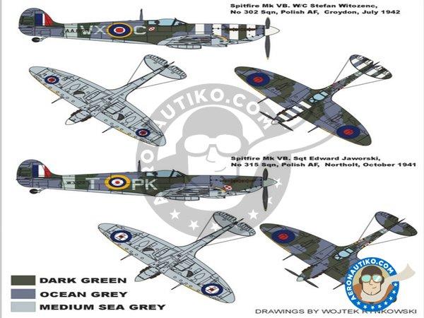 Image 1: Spitfire MkVB (Polish Spitfire) | Masks in 1/48 scale manufactured by Montex Mask (ref.K48006)