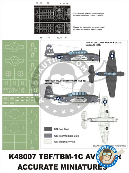 TBM-1C Avenger | Masks in 1/48 scale manufactured by Montex Mask (ref. K48007) image