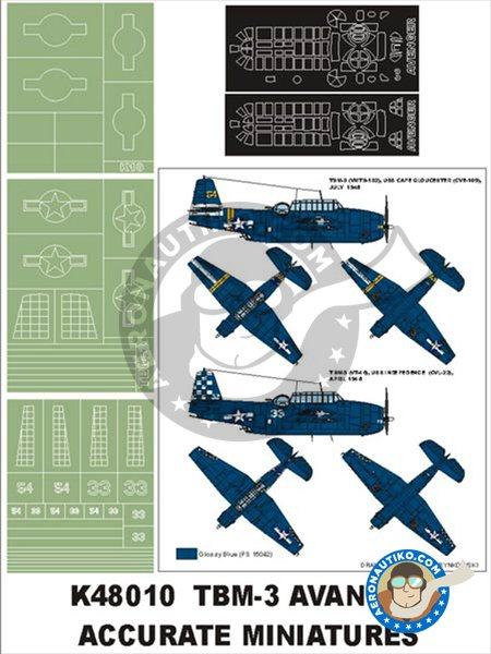 TBM-3 Avenger | Masks in 1/48 scale manufactured by Montex Mask (ref. K48010) image