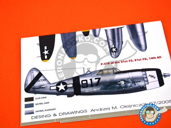Image 3: Republic P-47 Razorback D | Marking / livery in 1/48 scale manufactured by Montex Mask (ref. K48025)
