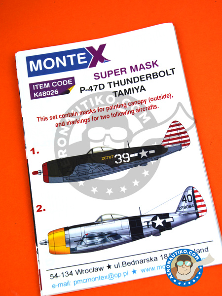 Republic P-47 Thunderbolt D Bubble Top | Marking / livery in 1/48 scale manufactured by Montex Mask (ref. K48026) image