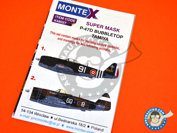 Image 1: Republic P-47 Razorback D Bubbletop | Marking / livery in 1/48 scale manufactured by Montex Mask (ref. K48027)