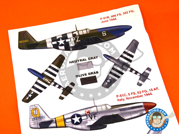 Image 3: North American P-51 Mustang B / C | Masks in 1/48 scale manufactured by Montex Mask (ref.K48146)