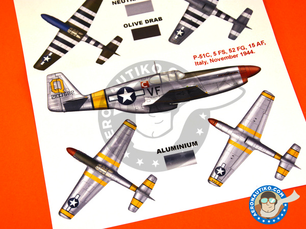 Image 4: North American P-51 Mustang B / C | Masks in 1/48 scale manufactured by Montex Mask (ref.K48146)