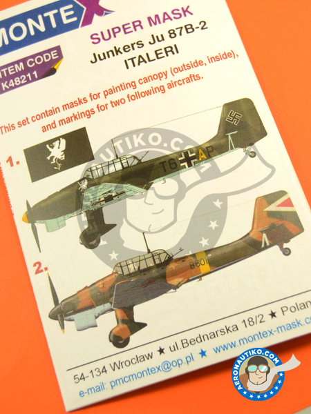 Junkers Ju-87 Stuka B-2 | Masks in 1/48 scale manufactured by Montex Mask (ref. K48211) image