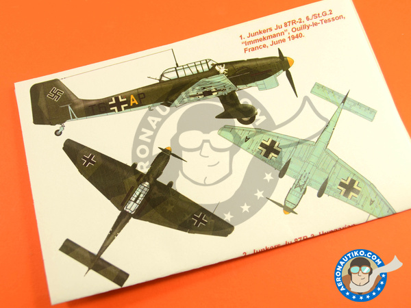 Image 2: Junkers Ju-87 Stuka B-2 | Masks in 1/48 scale manufactured by Montex Mask (ref. K48211)