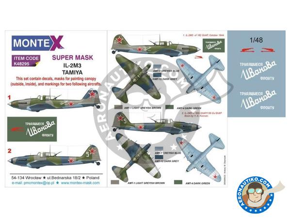 Image 1: Ilyushin IL-2 Shturmovik IL-2M3 | Masks in 1/48 scale manufactured by Montex Mask (ref.K48295)
