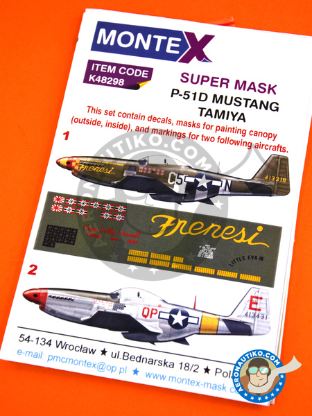 North American P-51 Mustang D | Masks in 1/48 scale manufactured by Montex Mask (ref. K48298) image
