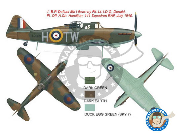Image 1: Boulton Paul Defiant Mk I | Marking / livery in 1/48 scale manufactured by Montex Mask (ref. K48315)