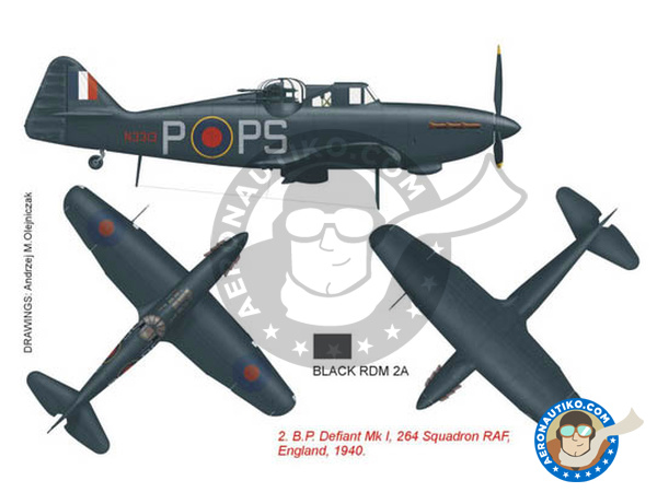 Image 2: Boulton Paul Defiant Mk I | Marking / livery in 1/48 scale manufactured by Montex Mask (ref. K48315)