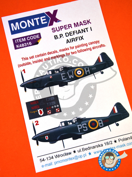 Boulton Paul Defiant Mk I | Marking / livery in 1/48 scale manufactured by Montex Mask (ref.K48316) image