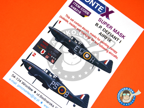 Image 1: Boulton Paul Defiant Mk I | Marking / livery in 1/48 scale manufactured by Montex Mask (ref.K48316)