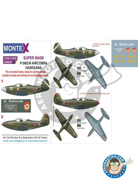 Bell P-39 Airacobra Q/N   Masks in 1/48 scale manufactured by Montex Mask (ref.K48320) image