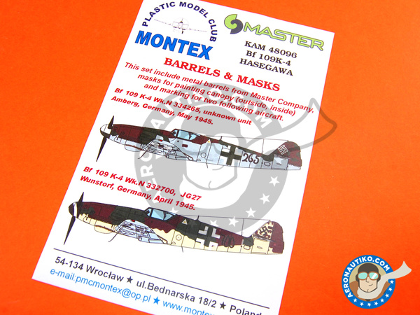 Image 1: Messerschmitt Bf 109 K-4 | Masks in 1/48 scale manufactured by Montex Mask (ref. KAM48096)