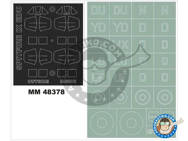 Image 1: Supermarine Spitfire IX | Masks in 1/48 scale manufactured by Montex Mask (ref.MM48378)