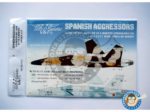 Image 1: McDonnell Douglas EF-18 Hornet A | Marking / livery in 1/72 scale manufactured by Series Españolas (ref. SE1072)