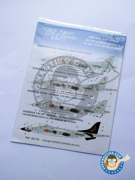 "McDonnell Douglas AV-8S, TAV-8S ""MATADOR"" | Marking / livery in 1/48 scale manufactured by Series Españolas (ref.SE148) image"