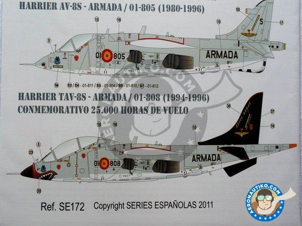"Image 3: McDonnell Douglas Harrier AV-8S, TAV-8S ""Matador"" | Marking / livery in 1/72 scale manufactured by Series Españolas (ref.SE172)"
