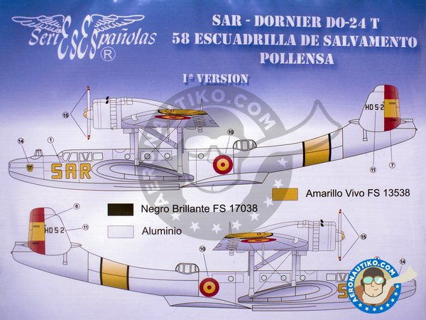 Image 2: Dornier Do-24T SAR 58 Escruadrilla de Salvamento Pollensa | Marking / livery in 1/72 scale manufactured by Series Españolas (ref.SE1972)