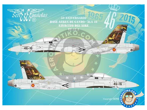 Image 1: McDonnell Douglas F/A-18 Hornet A | Marking / livery in 1/48 scale manufactured by Series Españolas (ref. SE3448)