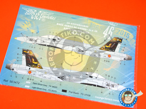 Image 3: McDonnell Douglas F/A-18 Hornet A | Marking / livery in 1/72 scale manufactured by Series Españolas (ref.SE3472)