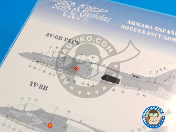 Image 2: McDonnell Douglas AV-8B Harrier AV-8B PLUS, AV-8B, TAV-8B | Marking / livery in 1/48 scale manufactured by Series Españolas (ref.SE348)
