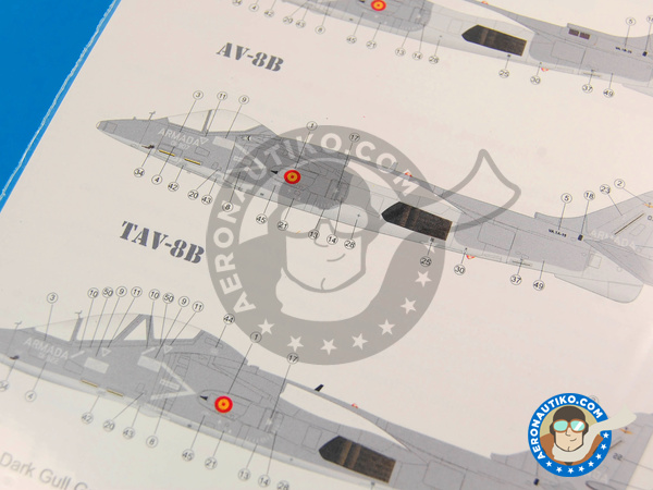 Image 3: McDonnell Douglas AV-8B Harrier AV-8B PLUS, AV-8B, TAV-8B | Marking / livery in 1/48 scale manufactured by Series Españolas (ref. SE348)