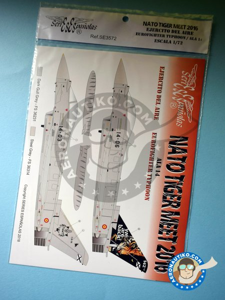 Eurofighter Typhoon NATO TIGER MEET 2016 14 Wing New 2018 | Marking / livery in 1/72 scale manufactured by Series Españolas (ref. SE3572) image