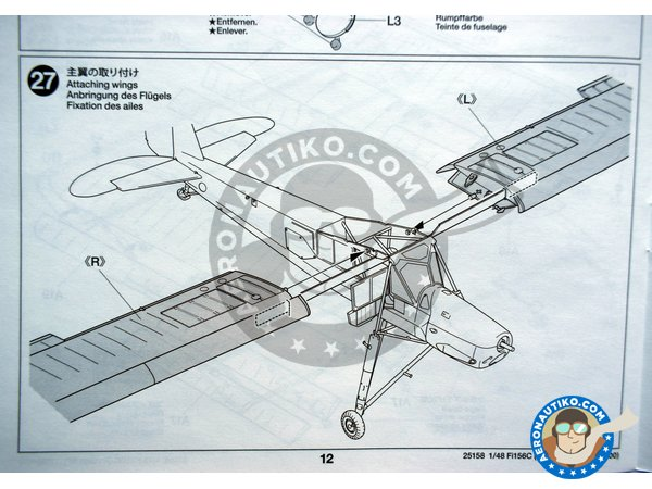 Image 9: Fieseler Fi 156C Storch | Airplane kit in 1/48 scale manufactured by Tamiya (ref. 25158)