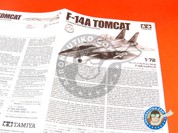 Image 1: Grumman F-14 Tomcat A | Airplane kit in 1/72 scale manufactured by Tamiya (ref. TAM60782)