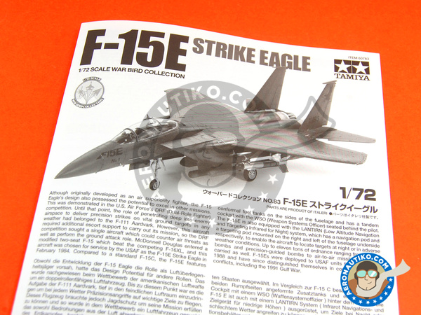 Image 2: McDonnell Douglas F-15 Strike Eagle E | Airplane kit in 1/72 scale manufactured by Tamiya (ref. TAM60783)